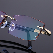 Rimless glasses finished color diamond trimming men s titanium glasses frame glasses with Business 25