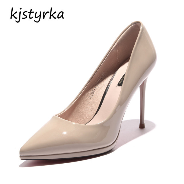 thin high heels 10cm Elegant ladies black apricot shoes 3