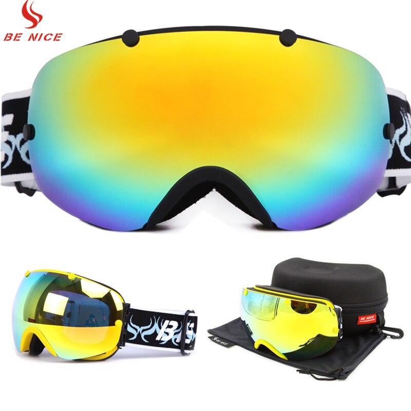 Профессиональные горные лыжи сноуборд очки УФ-Защита Анти-туман Снегоход Мотоцикл Зимние Лыжные очки