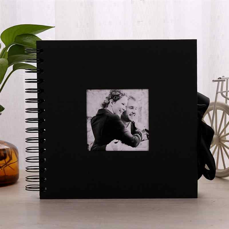 10Inch Black Paper Scrapbook Photo Album DIY Memory Album Mini Instant Picture Case Storage for Valentines Day Wedding