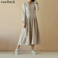 Runback Vintage Solid Women Jurken Pleated V neck Cotton Linen Vestidos Mujer 2019 Dresses Elegant Long Prom Robe Longue Femme
