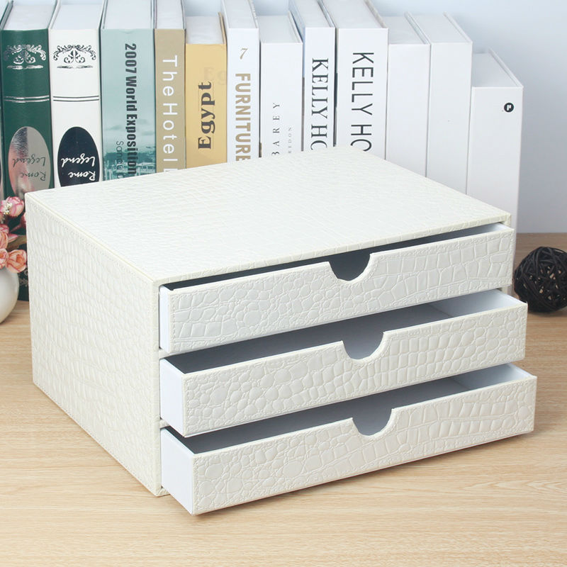 office 3-drawer wooden leather desk a4 file cabinet drawer box table organizer document holder rack tray crocodile white 217E
