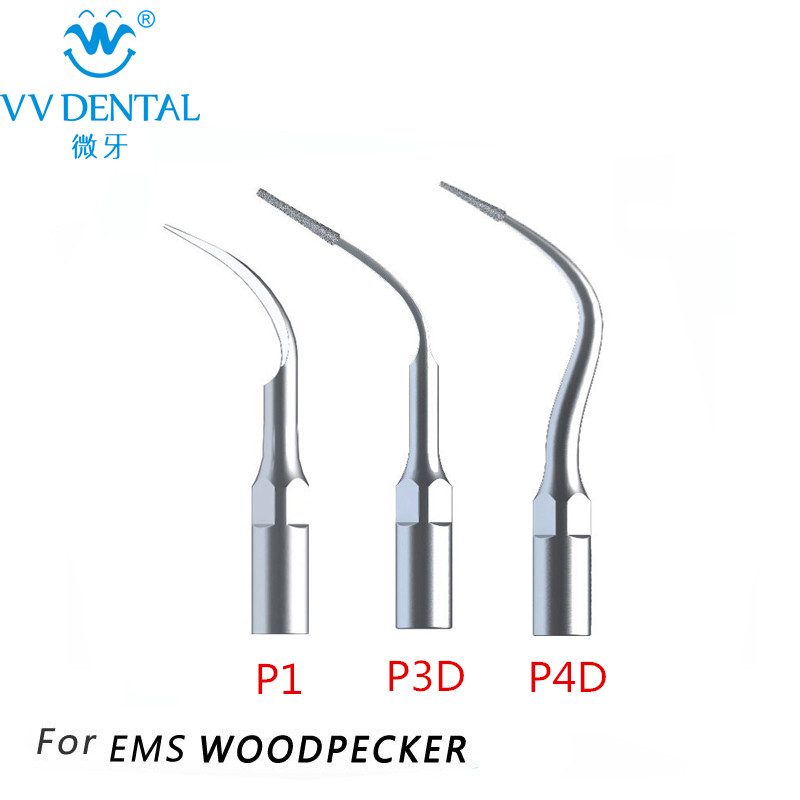 Dental WOODPECKER Scaling Tip 3Pcs / lot P1 P3D P4D Fit EMS, WOODPECKER UDS J, UDSK, UDS M, UDS E, N1, N2, N3