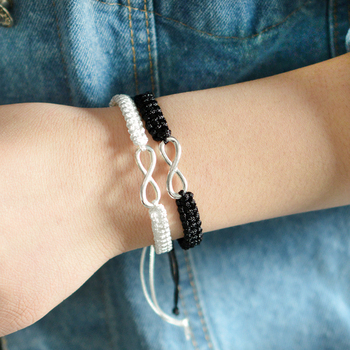 2pcs Infinity Braided kit bracelet Set Friendship Bracelet Set friendly Love Couples Bracelet Set Infinity Fashion Jewelry 4
