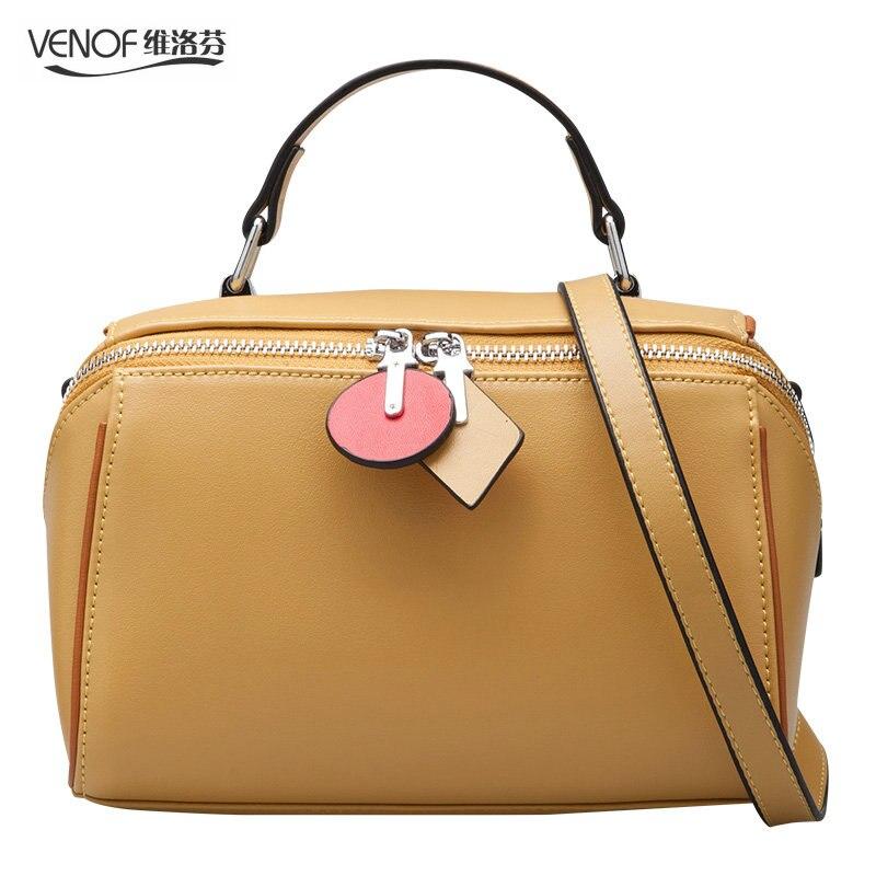 цены на VENOF Fashion split leather handbags for women boston bags ladies messenger bag exquisite Shoulder bag simple leather bags women