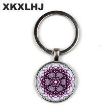 XKXLHJ Fashion Flower of Life Keyring for Women Sacred Geometry Mandala Keychain Round Photo Key Chains Glass Jewelry Keyrings