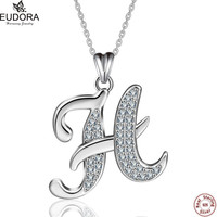 Eudora 100% Real 925 Sterling Silver Shiny Crystal Letter H Pendant Necklaces Women Charm Jewelry Best Christmas Gift CYD077H