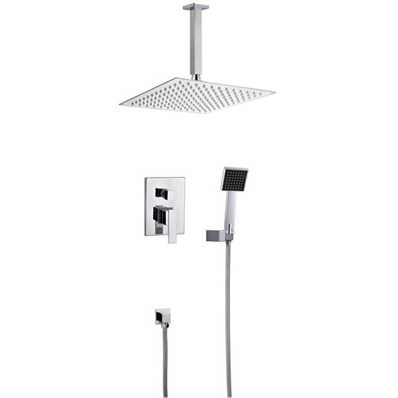 Homedec doccia 10 Square Concealed Shower Faucet Set Wall Mounted Rainfall Shower Head Mixer Tap