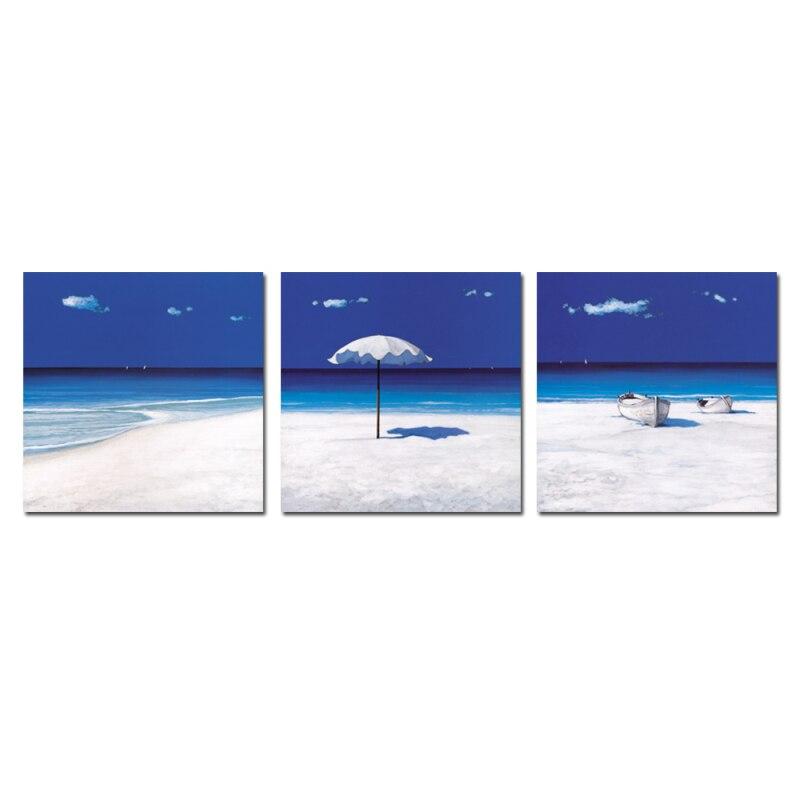 ᑎ‰3 unids mar azul cielo azul playa pequeño barco de madera pared ...