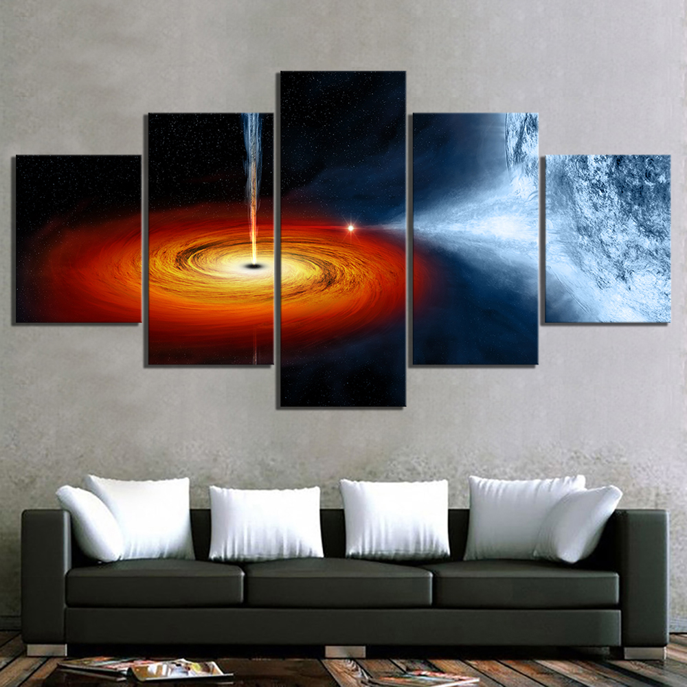 5 Piece Fantasy Art Outer Space Black Hole Poster HD Wall Sticker Canvas Paintings The Milky Way Picture Wall Art Paintings 3