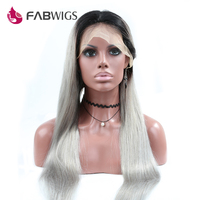 Fabwigs Ombre Grey Glueless Lace Front Wig With Baby Hair 130 Density Human Hair Wig For