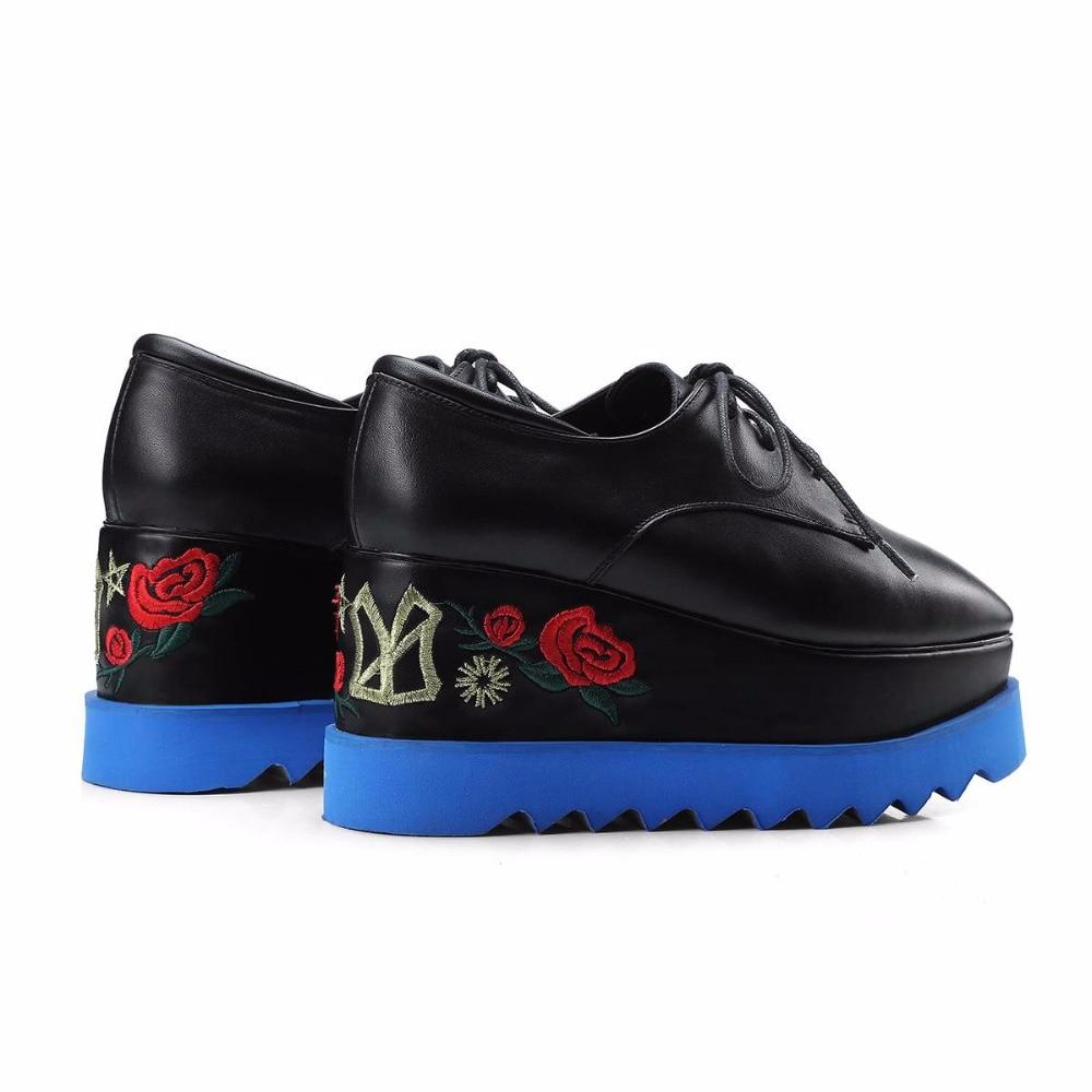 Krazing Femmes En Vache Fleurs Broderie Carré Cuir L89 Bout Coins Chaussures Mixte Pot Dentelle Superstar Up Couleur Noir Augmenté CRwrq5XR