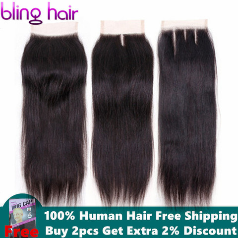 Bling Hair 4x4 Brazilian Straight Human Hair Closure with Baby Hair Free/Middle/Three Part Lace Closure 100% Remy Natural Color Pakistan
