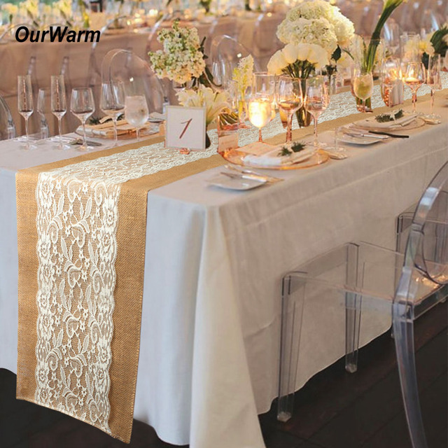 Ourwarm Table Runner Burlap Lace Wedding Decoration Embroidered ...