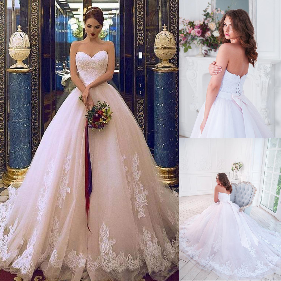 Elegant Tulle Sweetehart Neckline Ball Gown Bridal Dresses With Lace Appliques Beadings Belt Wedding Gowns
