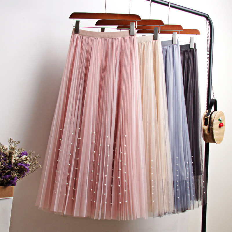New 2020 Spring Summer Skirts Womens Beading Mesh Tulle Skirt Women Elastic High Waist A Line Mid Calf Midi Long Pleated Skirt