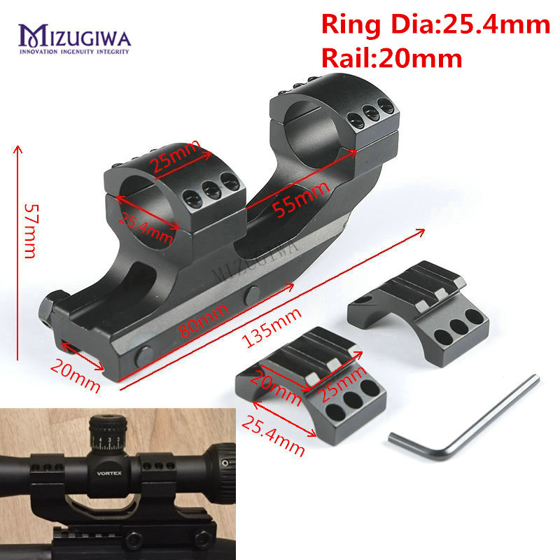 "MIZUGIWA Heavy Duty Scope Mount 25.4mm 1"" Dual Rings Cantilever Flat Top Rifle 20mm Picatiiny Rail Weaver Mount Hunting Tactical(China)"
