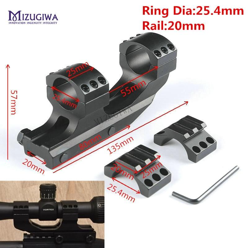 "MIZUGIWA Heavy Duty Scope Mount 25.4mm 1"" Dual Rings Cantilever Flat Top Rifle 20mm Picatiiny Rail Weaver Mount Hunting Tactical(China)"