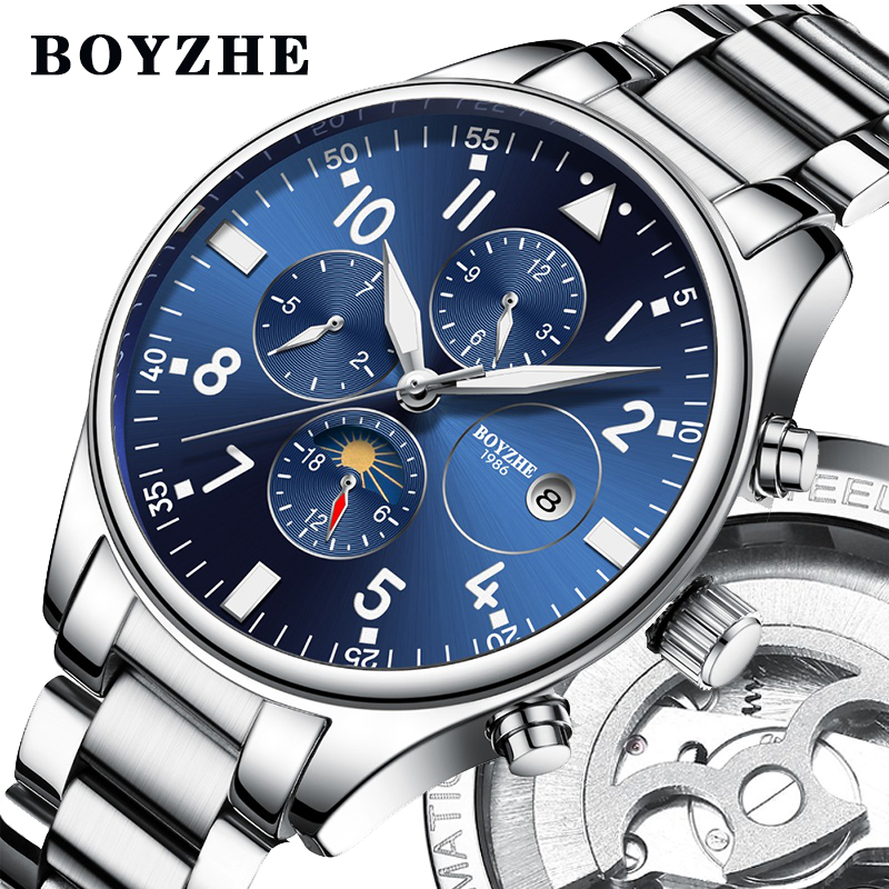 BOYZHE 2019 New Men Automatic Mechanical Watch Stainless Steel Fashion Luxury Brand Military Waterproof Business Sports WatchesBOYZHE 2019 New Men Automatic Mechanical Watch Stainless Steel Fashion Luxury Brand Military Waterproof Business Sports Watches