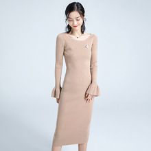 Autumn And Winter stylish flare sleeve Solid Color Sweater dress Woman Pullover Knitting Rendering Package Buttocks Dress c137