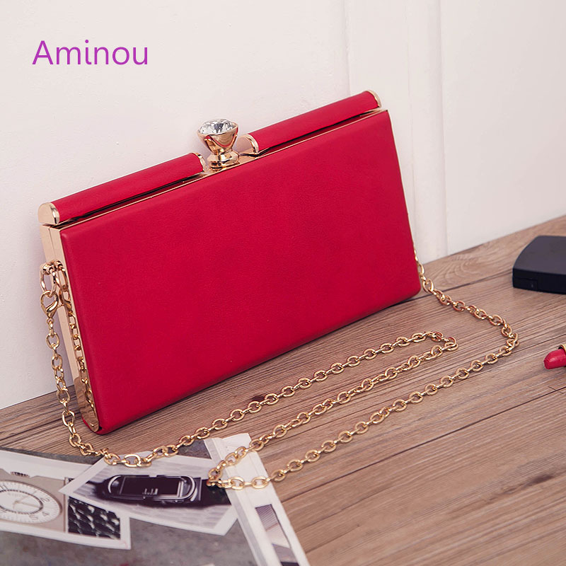Women Evening Bags Clutches Chain Bags 2016 Leather Handbag Women Famous Brands Day Clutches With Chain Hasp Lock Shoulder Bag