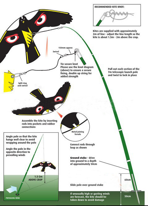 Bird Scarer -Flying Hawk Kite For Garden Scarecrow Yard And House Decoration,POLE-7Meters