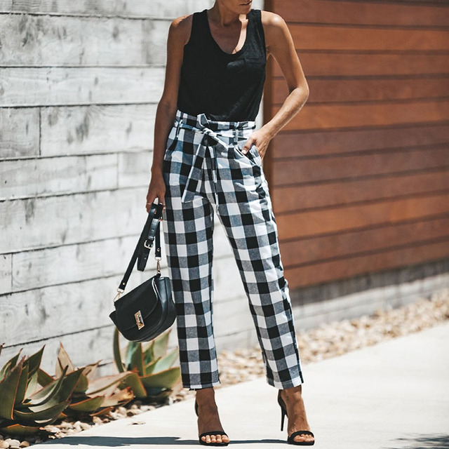 999936250df079 Plaid Summer Women pants Casual High Waist Bandage Checked harem Pants Red  White Black Long Trousers 2XL Loose casual pants
