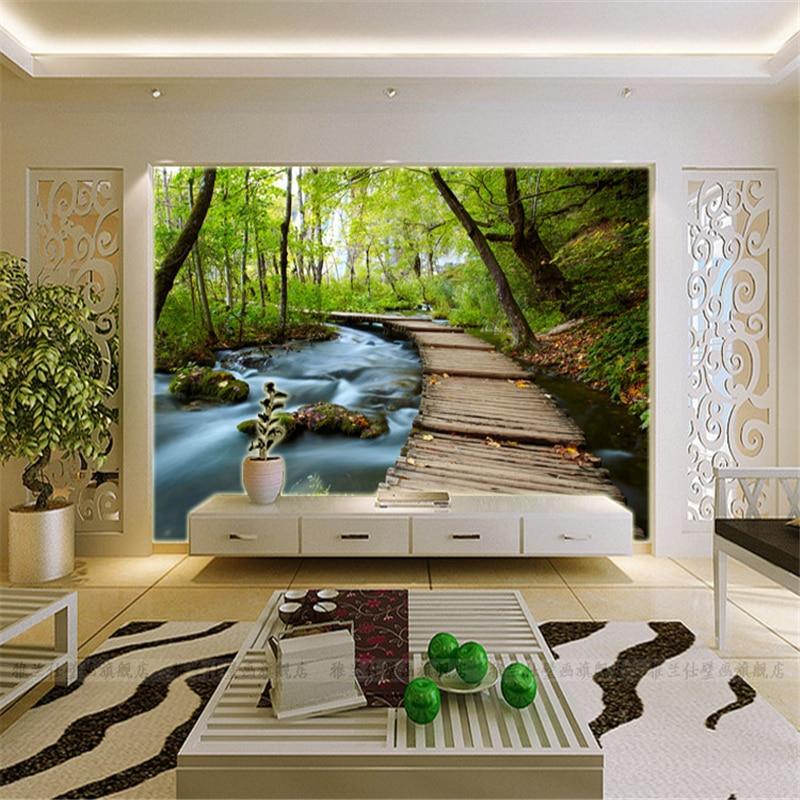 Papel de parede 3d three dimensional wallpaper landscape for Murales en 3d para salas