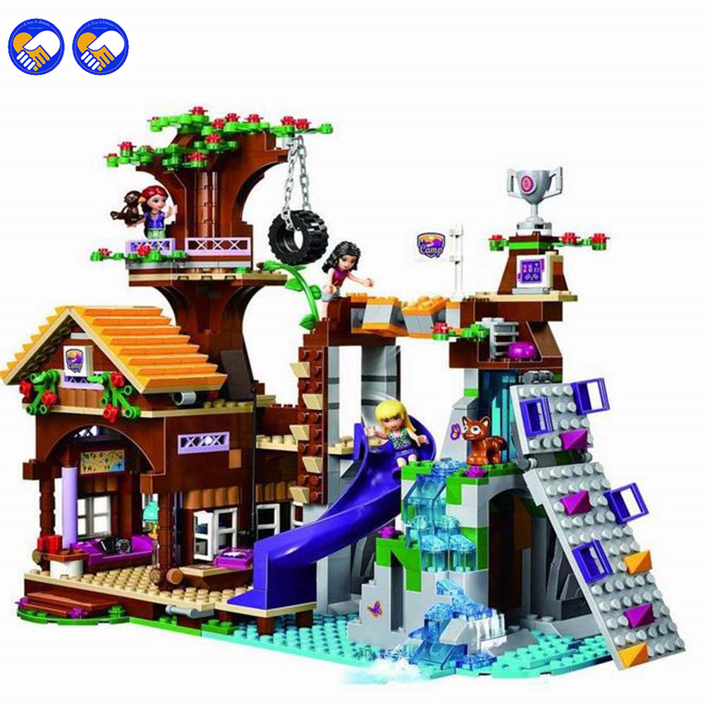 A toy A dream BELA 10497 Friends Series Adventure Camp Tree House Building Blocks Classic Girl Kids Toys Marvel Compatible lepin a toy a dream lepin 24027 city series 3 in 1 building series american style house villa building blocks 4956 brick toys