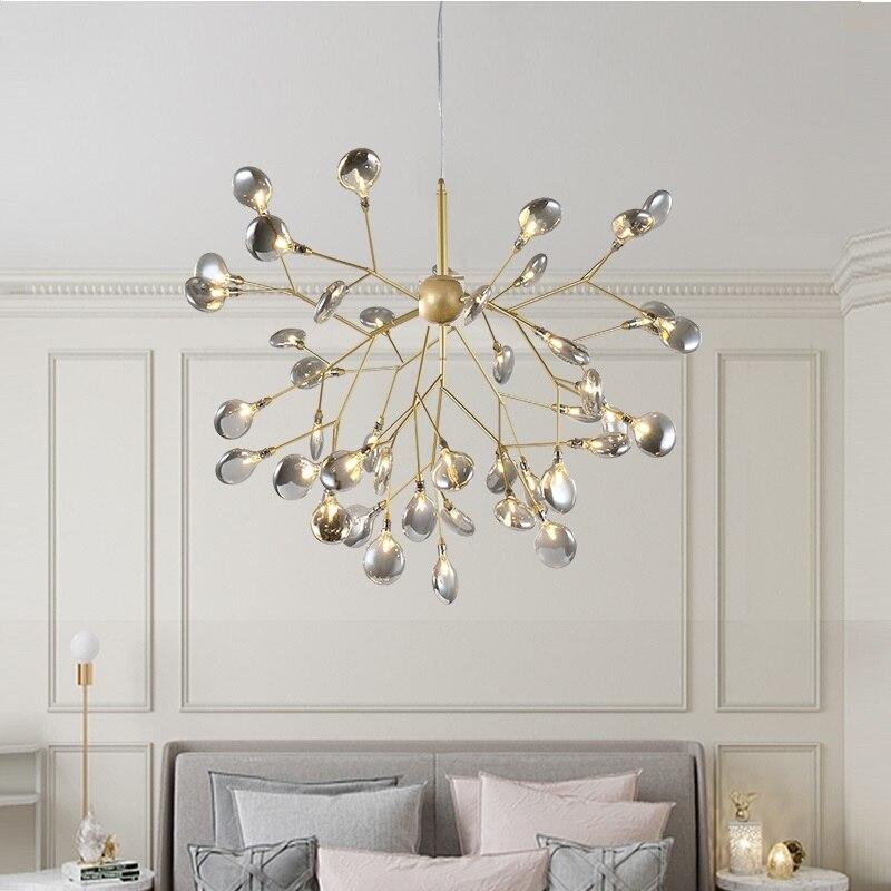 LED Modern firefly avize işık şık ağaç dalı avize lamba dekoratif tavan chandelies asılı Led aydınlatma