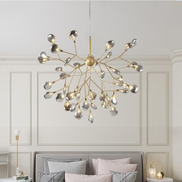 LED اليراع الحديثة الثريا ضوء أنيق شجرة فرع مصباح نجف السقف الزخرفية الثريا معلقة Led الإضاءة