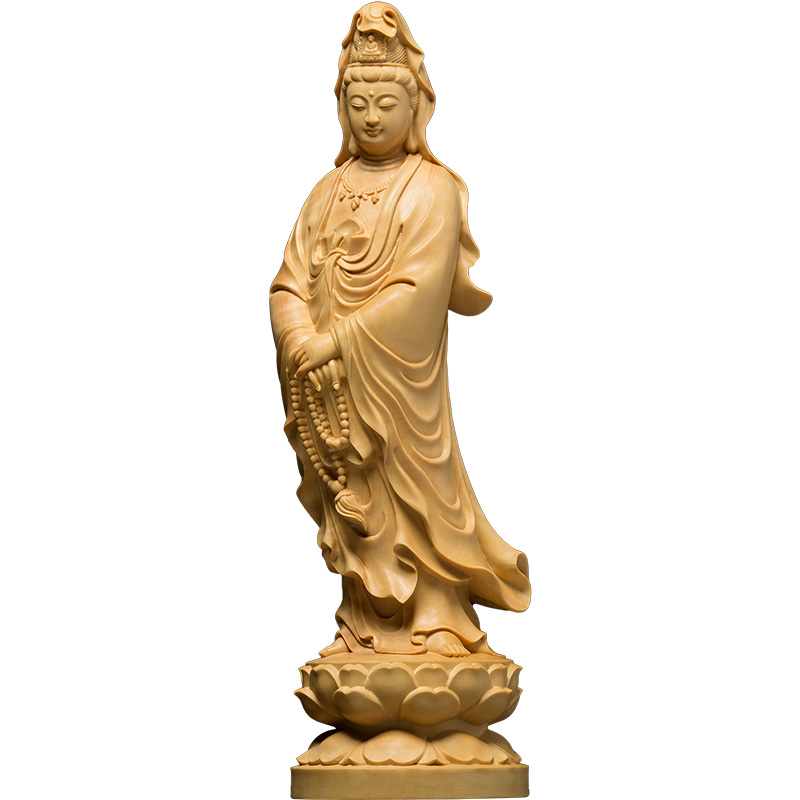 12cm Chinese Home Decor Wall Sculpture Buddha Statue Car Wood Buddha   God  Office Accessories Ation Desk