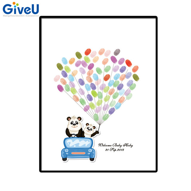 GiveU DIY Customized Panda Babyshower Fingerprint Baby Shower Guest Book  Christenings Guest Book Signature Tree 2