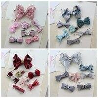 7pcs Set Baby Girl Hair Accessories Set Bow Knot Kid Hair Clip Hairbands Children Rhinestone Elastic