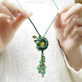 fashion ethnic necklace vintgae bohemian jewelry sweater necklace green, chinese handmade braided agate jewelry  necklace