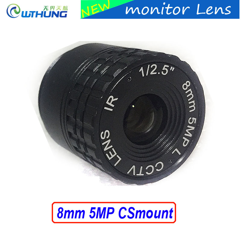 Metal case Fixed CS Mount Lens 1/2.5 inch 8mm 5Megapixel For CMOS/CCD 1080P/3MP/4MP/5MP IP camera or AHD/CVI/TVI CCTV Camera 3megapixel fixed m12 cctv lens 1 2 5 inch 3 6mm for ov2710 ar0230 720p 1080p ip camera or ahd cvi tvi cctv camera free shipping