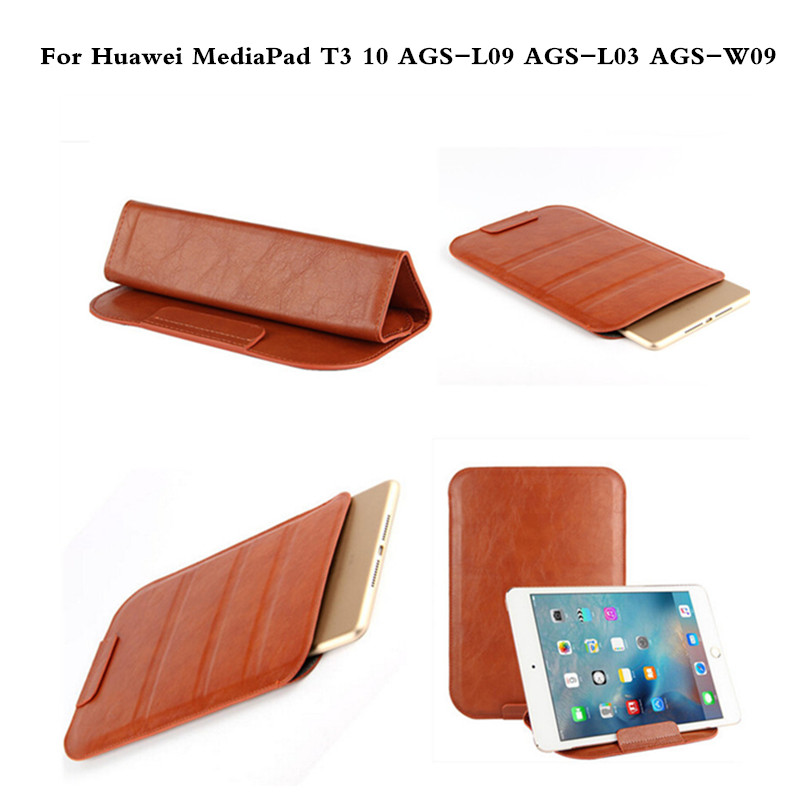 PU Leather Protective Tablet PC Bag Pouch Case For Huawei MediaPad T3 10 AGS-L09 AGS-L03 AGS-W09 9.6 Tablet Protector Sleeve protective pu leather bag pouch for iphone 5 black