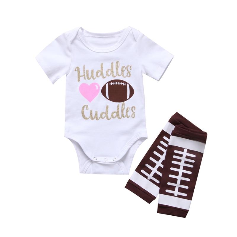 Nieuwe Mode Baby Jongetje Meisjes Kleding Katoen Romper Korte Mouw O-hals Outfits Kleding + Beenwarmers Set