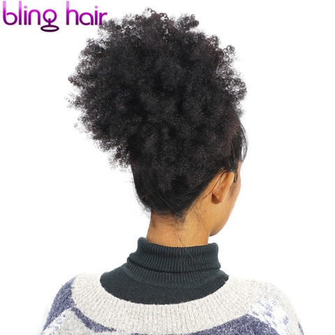 bling hair Brazilian Hair Afro Kinky Curly Bundles with Closure 100% Remy Human Hair Bundles With 4*4 Lace Closure Natural Color Karachi