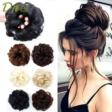 DIFEI Women Curly Chignon Hair Clip In Hairpiece Extensions Black Brown Red Synthetic High Temperature Fiber Chignon 1(China)