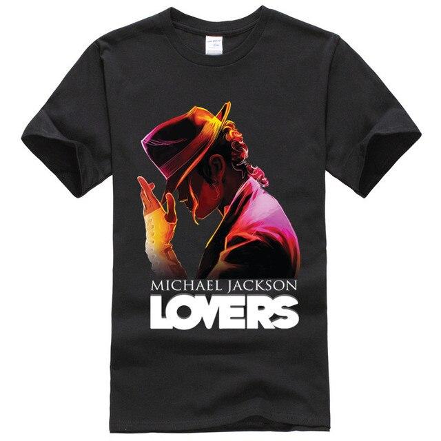 92af3ae451 Homens Casuais Camiseta Michael Jackson Amantes T-shirt de Algodão Tees  Tops Black White XS
