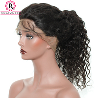 Rosa Queen 360 Lace Frontal Wigs 180 Density Deep Wave Brazilian Remy Hair Natural Black Color