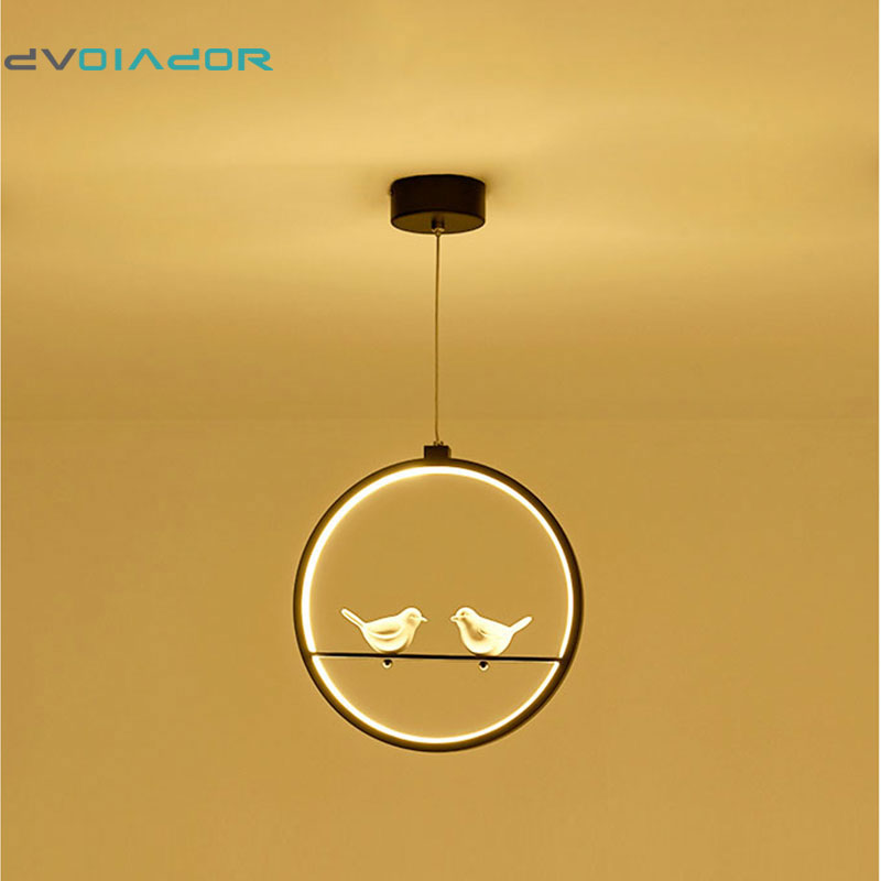 DVOLADOR 2-Bird Modern Pendant Lights Kitchen Living Room Light LED Hanging Lamp Luminaires 3 color Dimmable With Control AC220