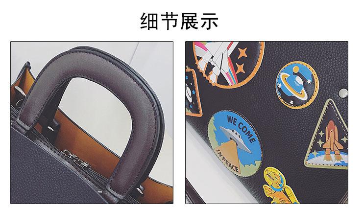 Women Rocket Space Tote Bag Pu Leather Handbag 2018 Autumn And Winter Black Blue Badge Lady Hand Bag Casual Single Shoulder Bag 19