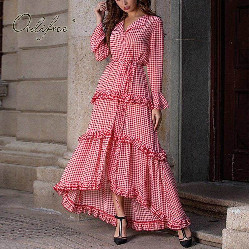 Ordifree 2019 été Boho femmes Plaid longue robe à manches longues élégante dame rouge à volants Sexy Maxi robe