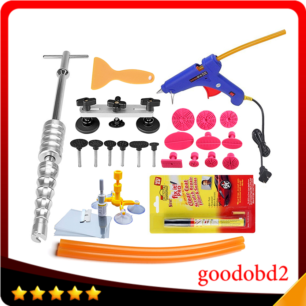 ФОТО Motorcycle Car Dent Repair Tool Kit Dent Remover Puller PDR Tool Kit with Hot Metal Glue Gun With Car Repair Pen Scratch Remover
