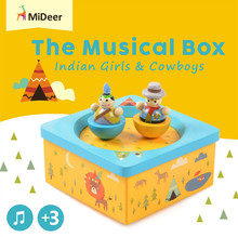 Mideer Cute Baby Mobile Crib Bed Bell Kid Toy Wind up Rotating Movement Musical Box Indian Girls and Cowboys Develop Toy Gifts
