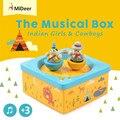 Mideer Lindo Bebé Campana de la Cama del Pesebre Móvil Kid Toy Wind up Movimiento de rotación Caja De Música Muchachas Indias y Vaqueros Desarrollar Juguete Regalos