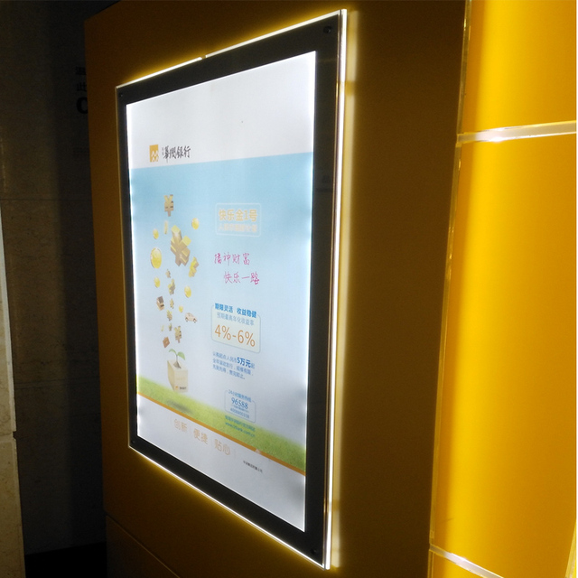 (Pack/6units) A2 Single Display Wall Mounted Illuminated Poster Frames,Backlit Display Light Systems for Gallery