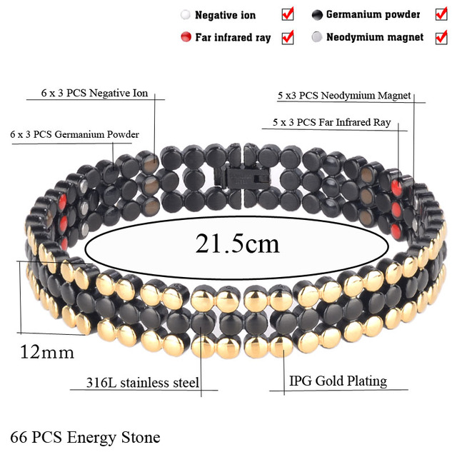 316L Stainless Steel 4 Healthy Elements Gun Black Bracelet